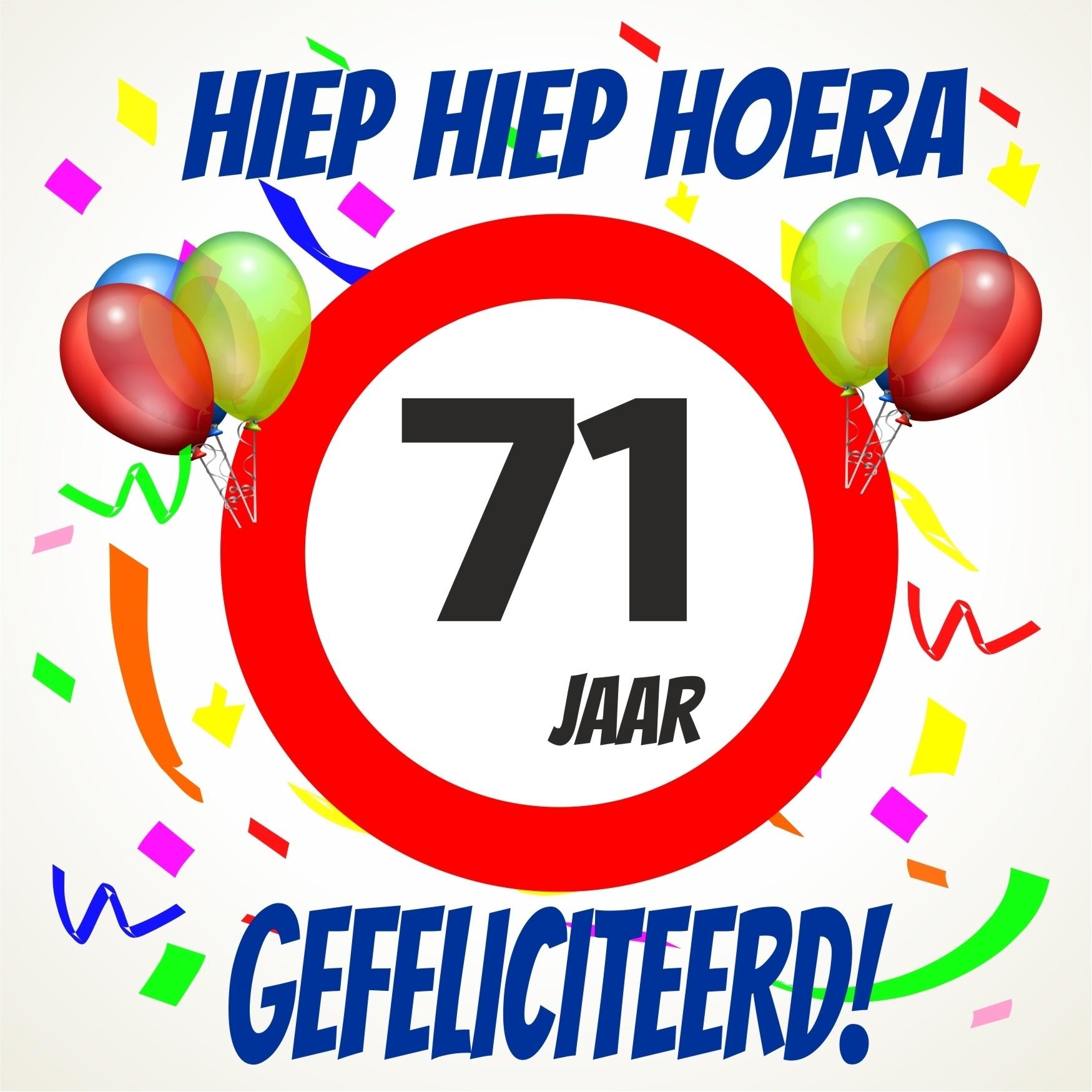 71 jaar Verjaardags tegeltje 71 jaar voordelig bij  71 jaar