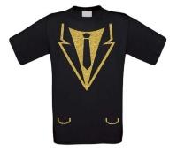 Colbert met stropdas glitter goud t-shirt