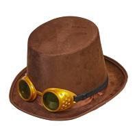 Bruin Hoge hoed bruin steampunk met fantasy bril Henry