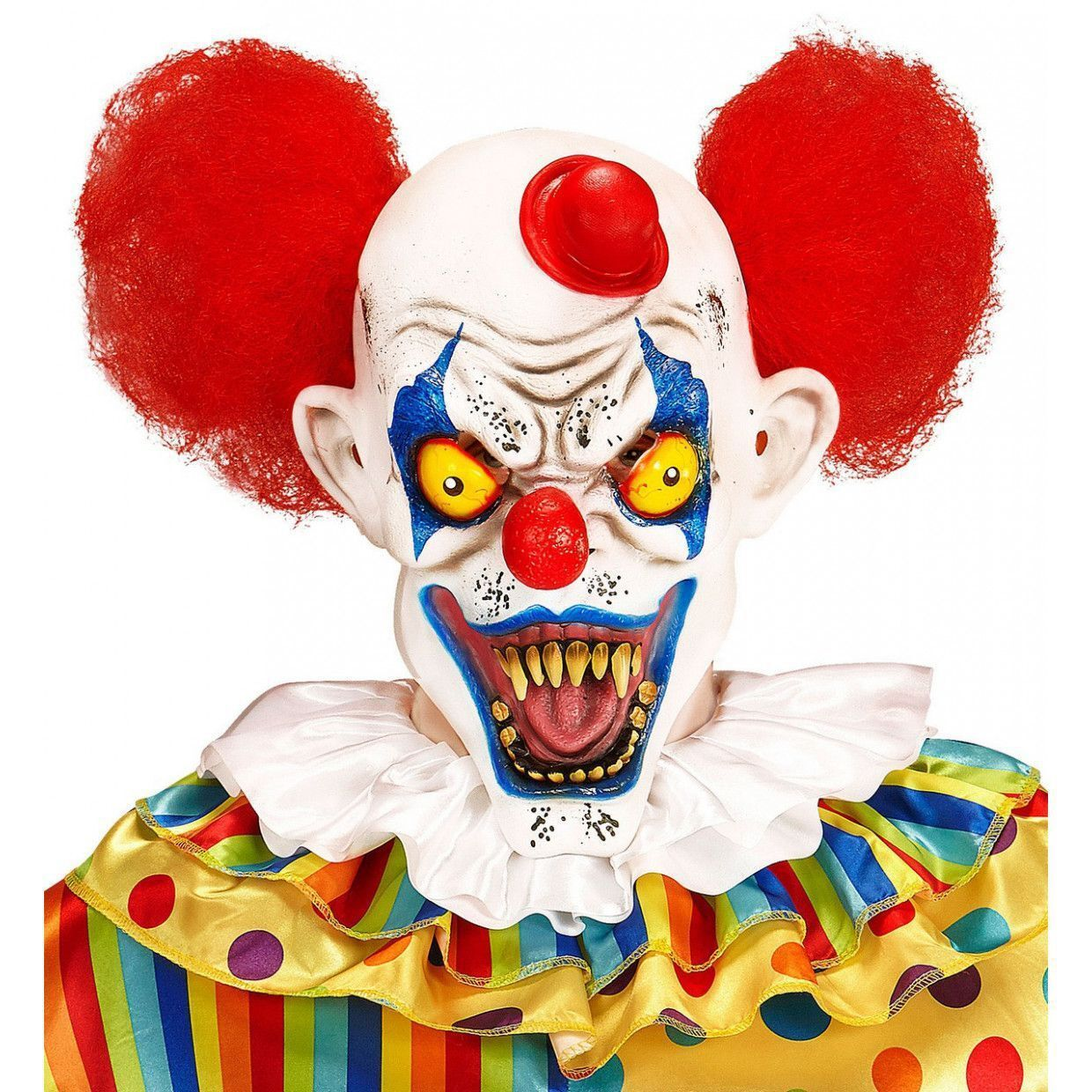 Killer horror clown masker met rode krullen en hoed scream