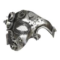 Steampunk halfgezicht masker zilver mechanisch