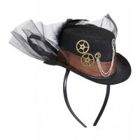 Steampunk mini hoge hoed diadeem mechanisch