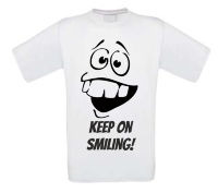 Keep on smiling lachend gezicht T-shirt