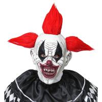 Afschrikwekkende scary horror clownsmasker met raar rood haar