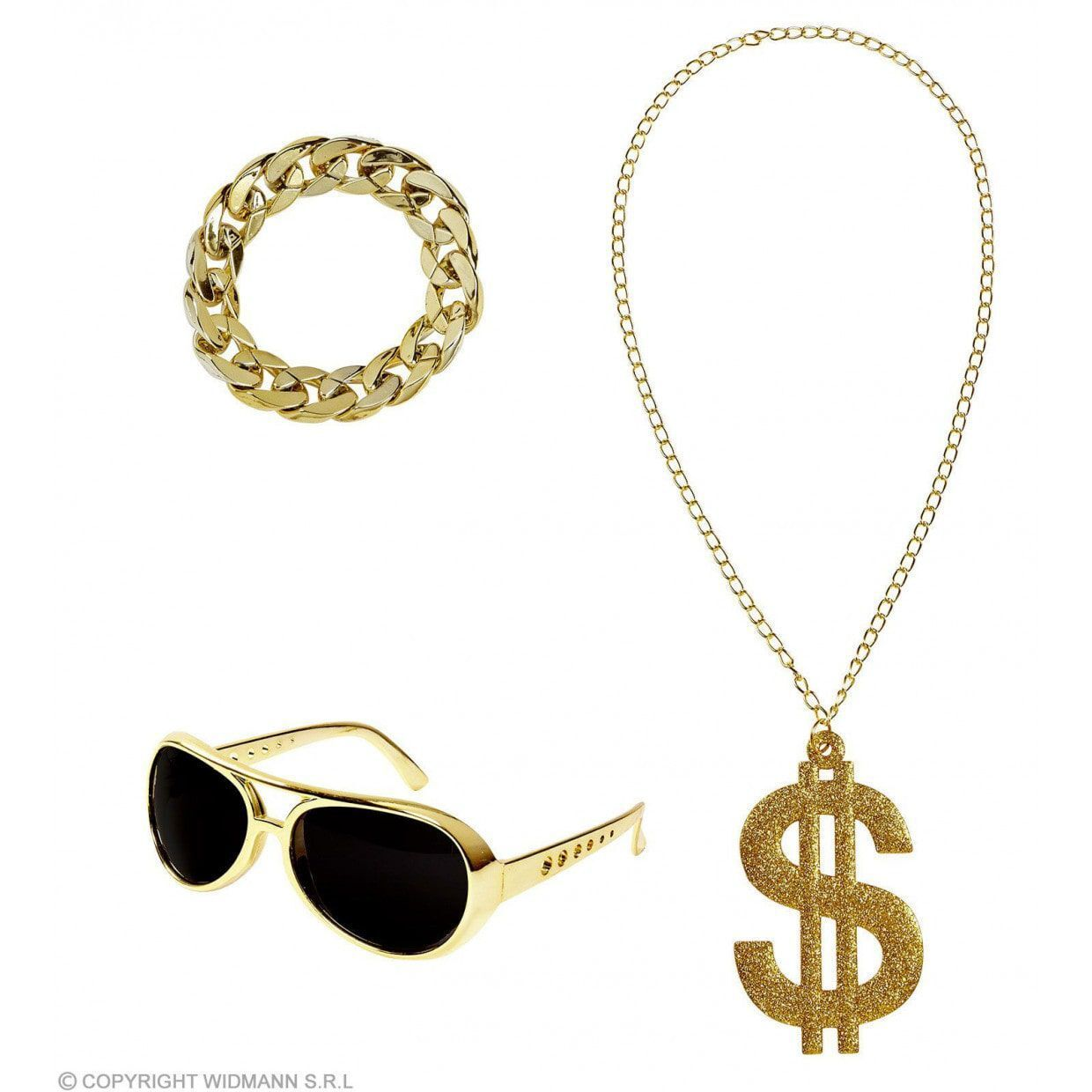 Bad rapper set goud zonnebril ketting en armband