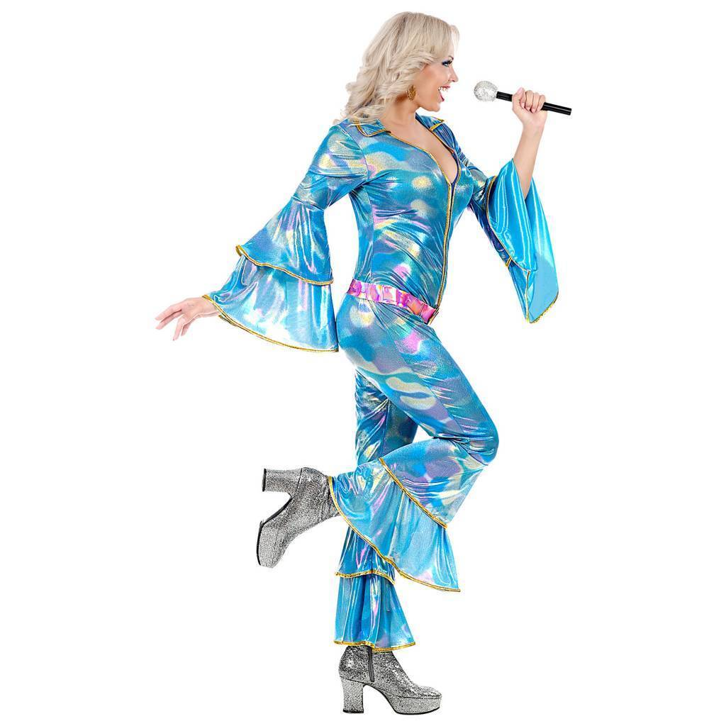 Disco dancing queen jumpsuit blauw dame