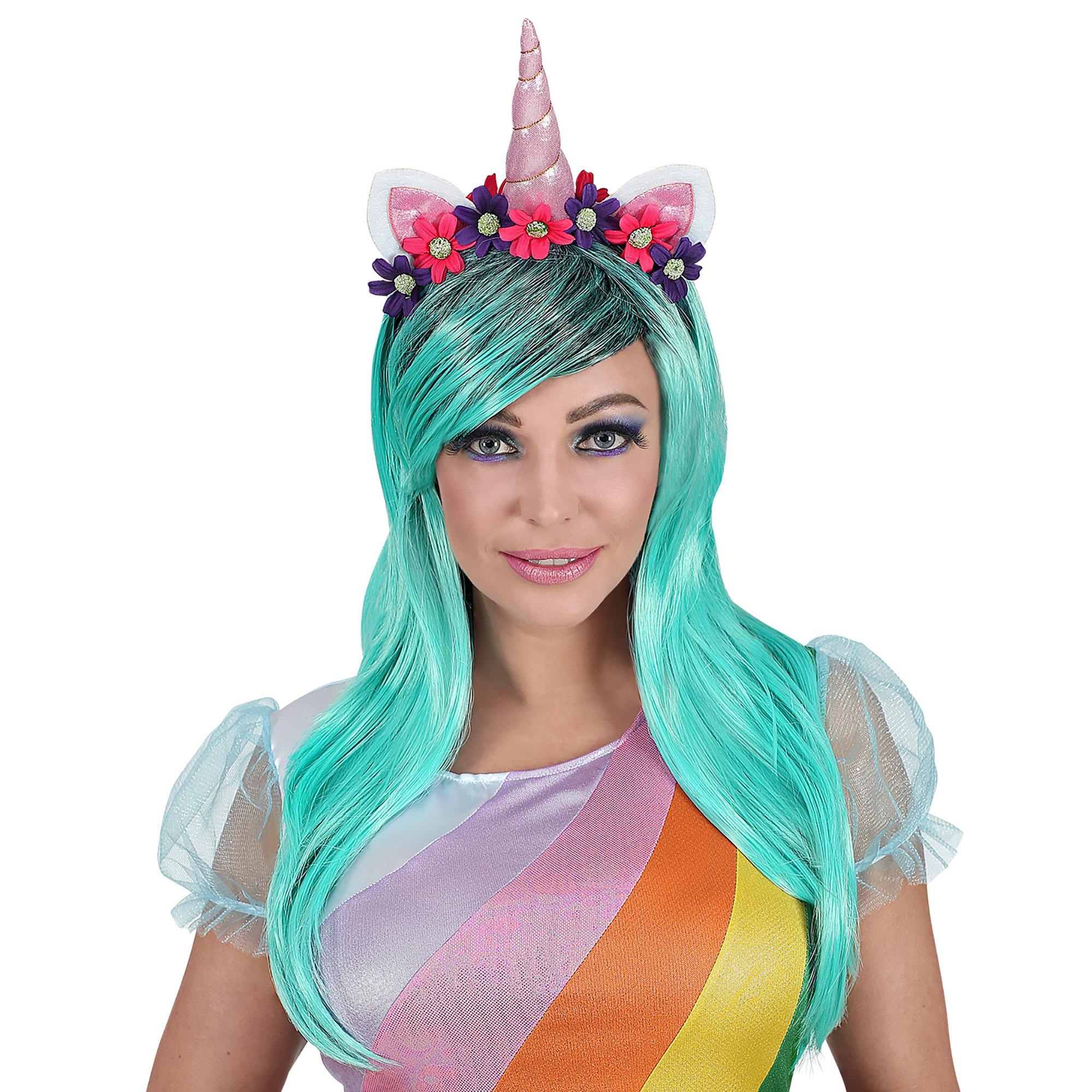 7d2031b2858c10 Eenhoorn unicorn blauw groene pruik met bloemetjes haarband