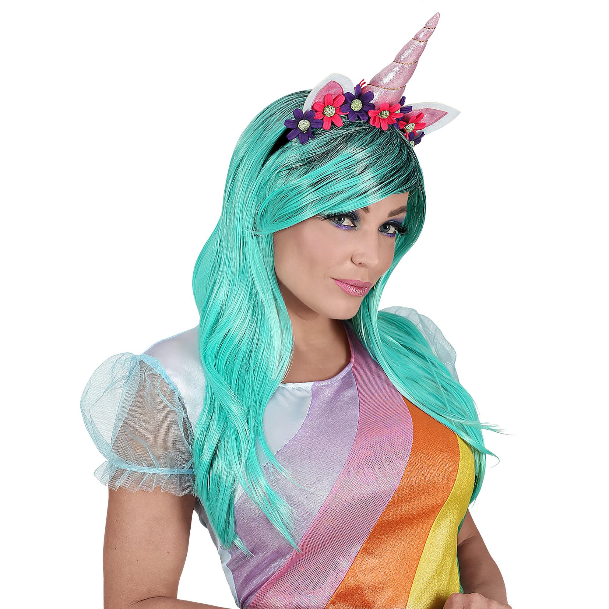 543ba3d3b7ee97 ... foto 3 Eenhoorn unicorn blauw groene pruik met bloemetjes haarband ...
