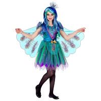 Prachtig kleurrijke pauwen jurk meisje