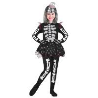 Skelet kostuum meisje met zwarte tutu