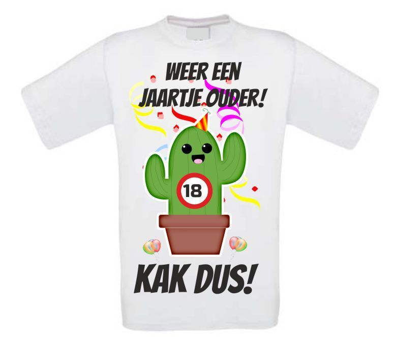 verjaardag shirt 18 jaar cactus orgineel full colour