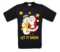 Let it snow kerstman sneeuwpop t-shirt