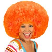 Oranje afro pruik groovy
