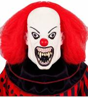 Scary  wit killer clown masker met rode haren