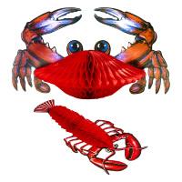 Zeedieren decoratie papier kreeft en krab