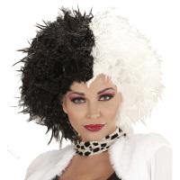 Cruella de ville pruik zwart wit
