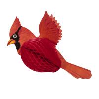 Papieren decoratie kardinaal vogel 42 cm
