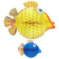 Set van 2 vissen decoratieve honingraat 33 cm