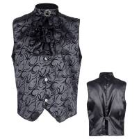 Mooi gothic vest zwart met jabot heren
