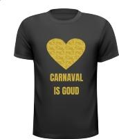 Carnaval is goud T-shirt glitter goud hart feest