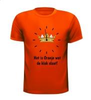 Koningsdag T-shirt het is oranje wat de klok slaat gek grappig origineel