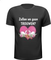 Zullen we gaan trouwen huwelijksaanzoek T-shirt