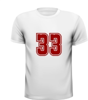 Cijfer 33 getal T-shirt leeftijd