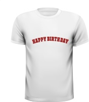 happy birthday robijnrode letters wit t-shirt