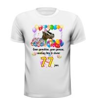 Feestelijk verjaardag shirt vrolijk en kleurrijk 77 jaar print met ballonnen en geit