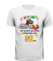 Geen gemekker geen gemaar vandaag ben ik 32 jaar! verjaardag shirt met feestelijke geit