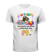 Vrolijk verjaardag shirt met ballonnen en geit 79 jaar