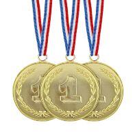 Medailles set 3 stuks nep goud plastic voor een echte kampioen