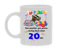 Mok verjaardag twintig jaar met leuke print van een geit en tekst