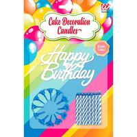 Happy birthday kaarsjes voor op taart blauw verjaardag 16 stuks