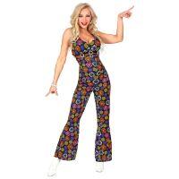 Jumpsuit flower power disco fever 70e jaren dames kostuum bloemen motief