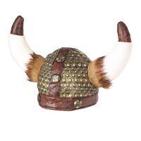 Viking helm met vacht en horens woeste noorman of moorvoruw
