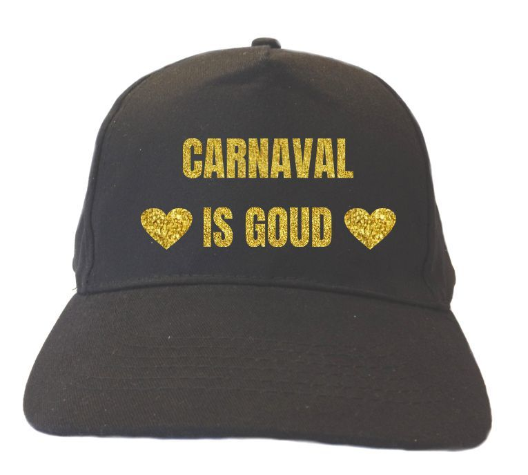 Glitter goud pet Carnaval is goud