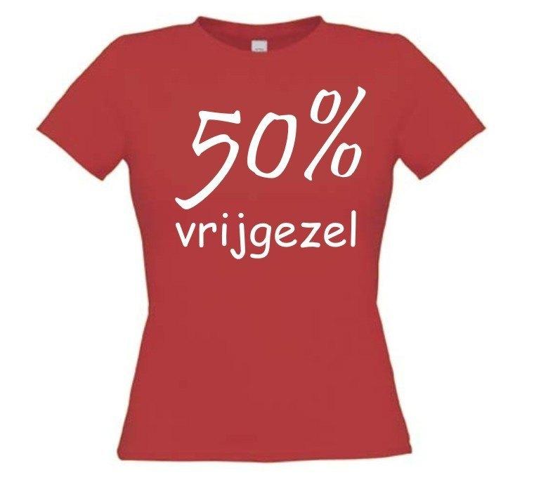 Fun t shirt funny shirt 50 procent vrijgezel