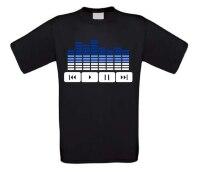 Dj t-shirt equalizer en play en stop pauze button in twee kleuren blauw