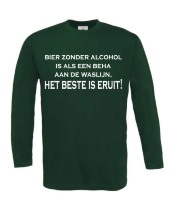 Longsleeve lange mouw bier zonder alcohol is als een beha aan de waslijn, het beste is eruit!
