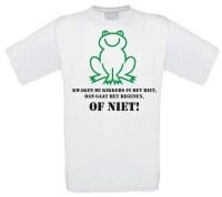 T-shirt kwaken de kikkers in het riet, dan gaat het regenen, of niet!