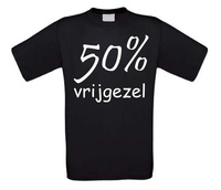 Fun T-shirt funny shirt 50 procent vrijgezel